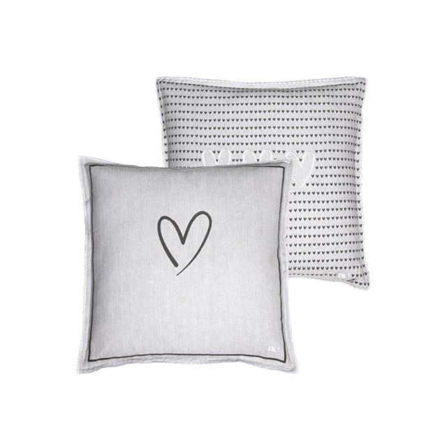 Grey chambray heart/hearts cushion