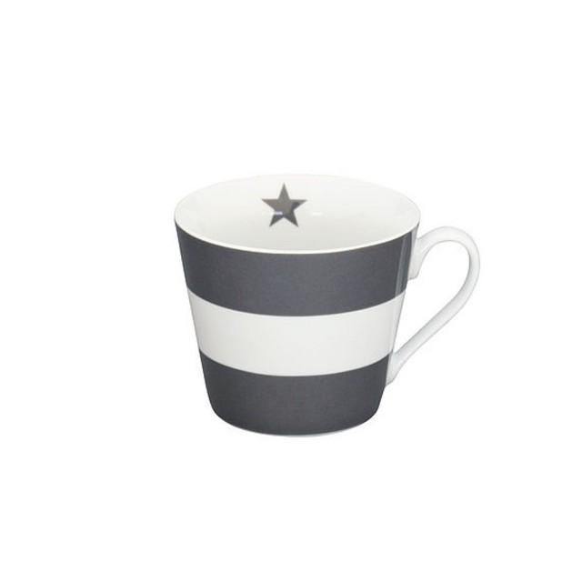 Grey & white mega stripe mug