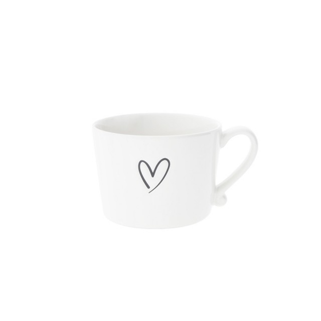 Grey debossed heart mug