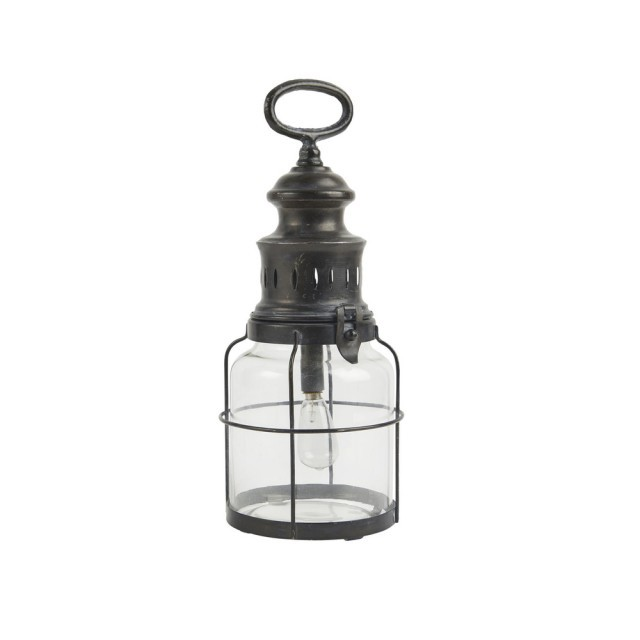 LED lantern with grid around glass