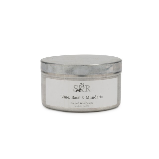 Lime, basil & mandarin tin candle