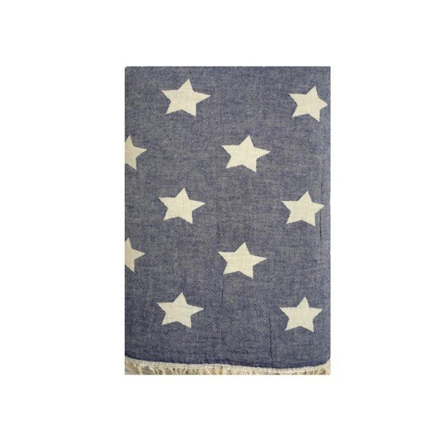 Navy star fleece throw