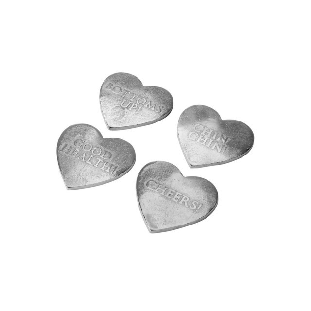 Silver heart coasters