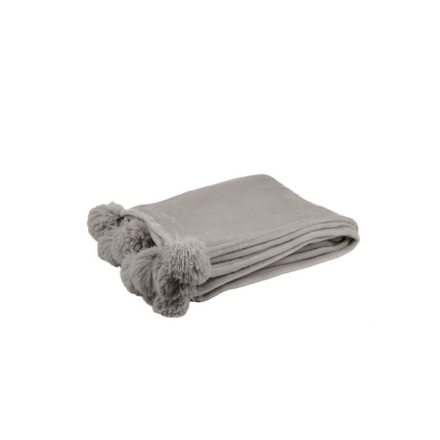 Taupe pompom throw