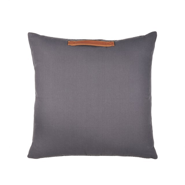 Floor cushion with leather handle
