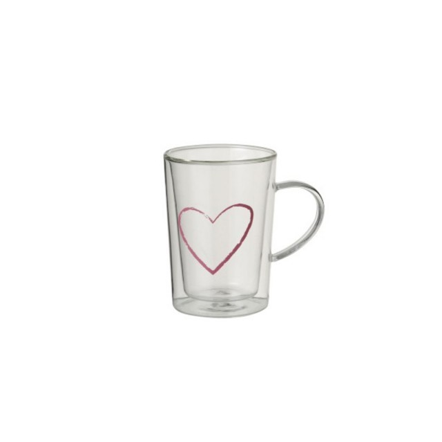 Glass mug with pink heart