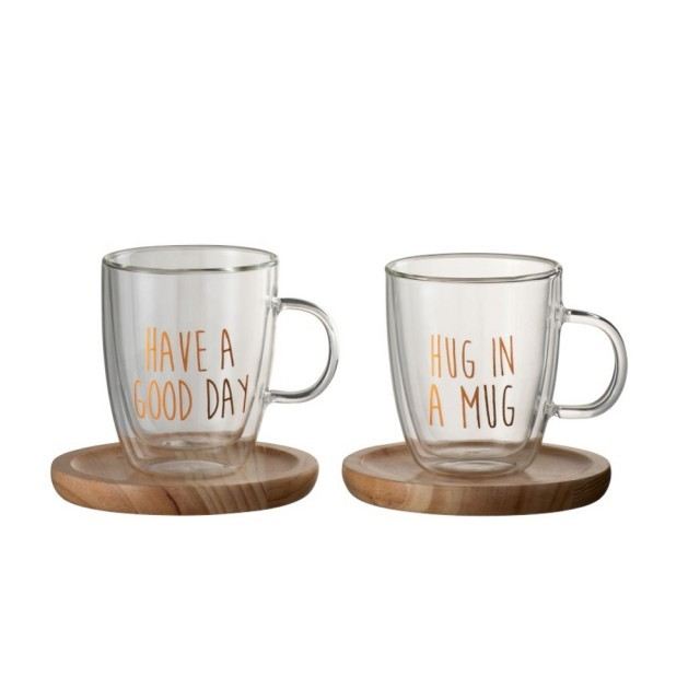 Glass mug with rose gold writing & wooden saucer