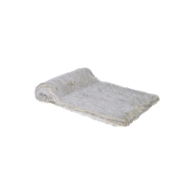 Grey faux fur throw
