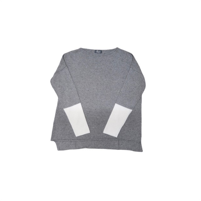 Grey/ivory sleeve jumper