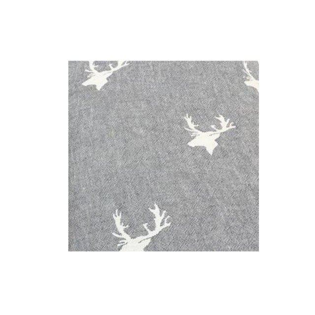 Grey stag fleece throw