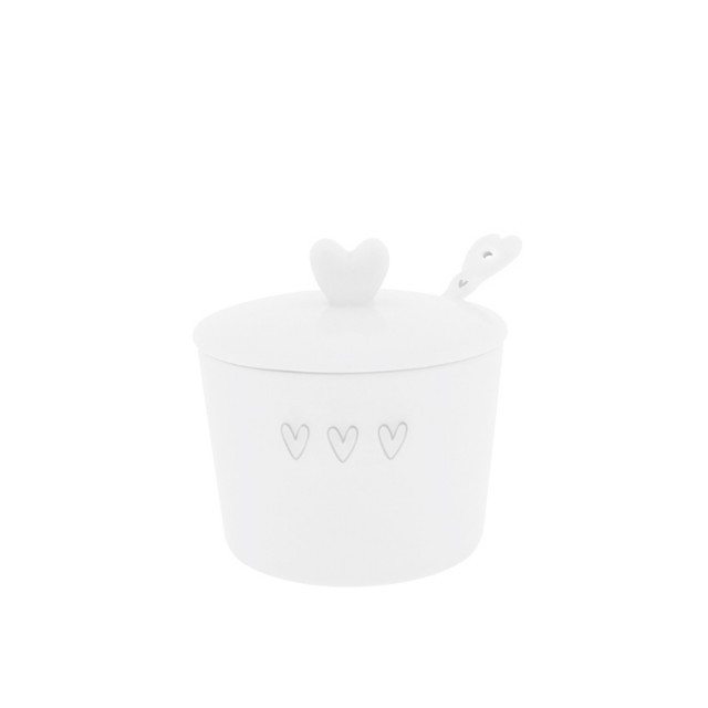 Grey triple heart sugar bowl with spoon