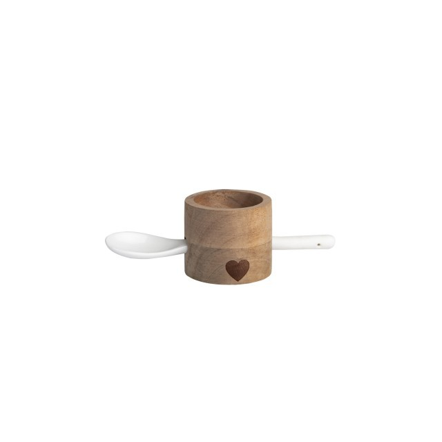Wooden egg cup with spoon