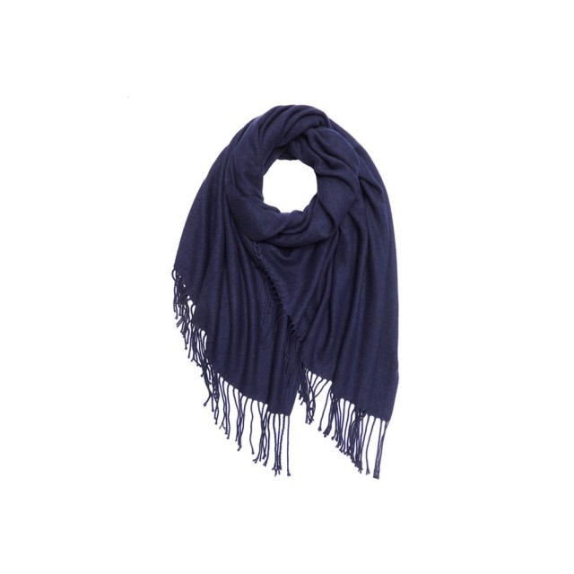 Navy cashmere mix scarf
