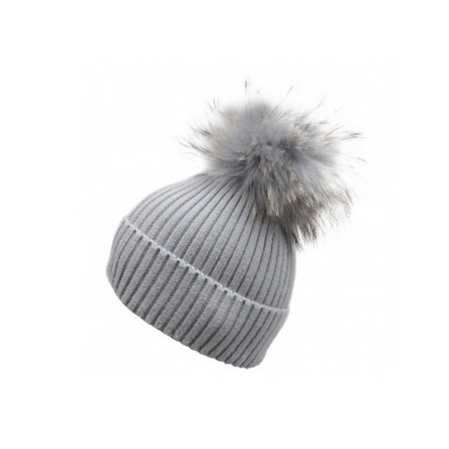 Pale grey bobble hat