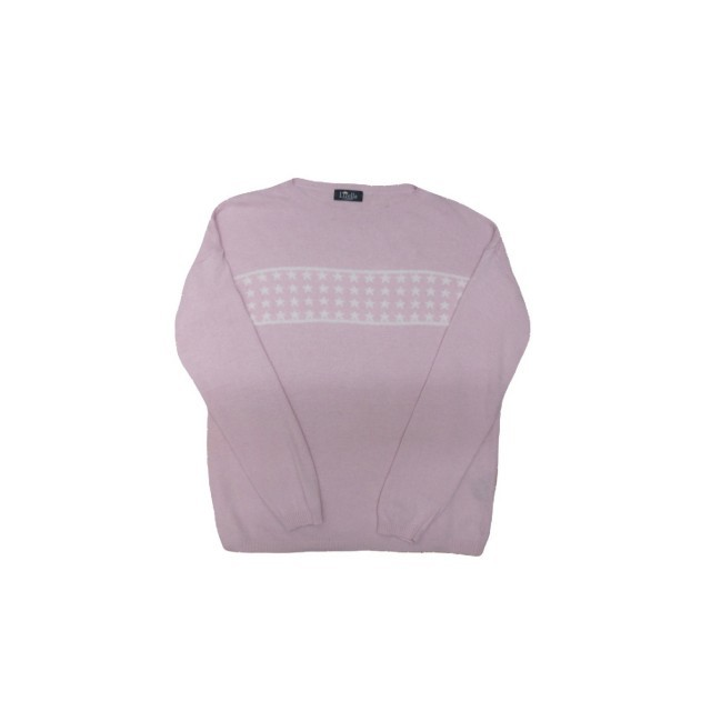 Pink jumper with white stars across front