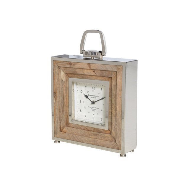 Sq wood/steel clock
