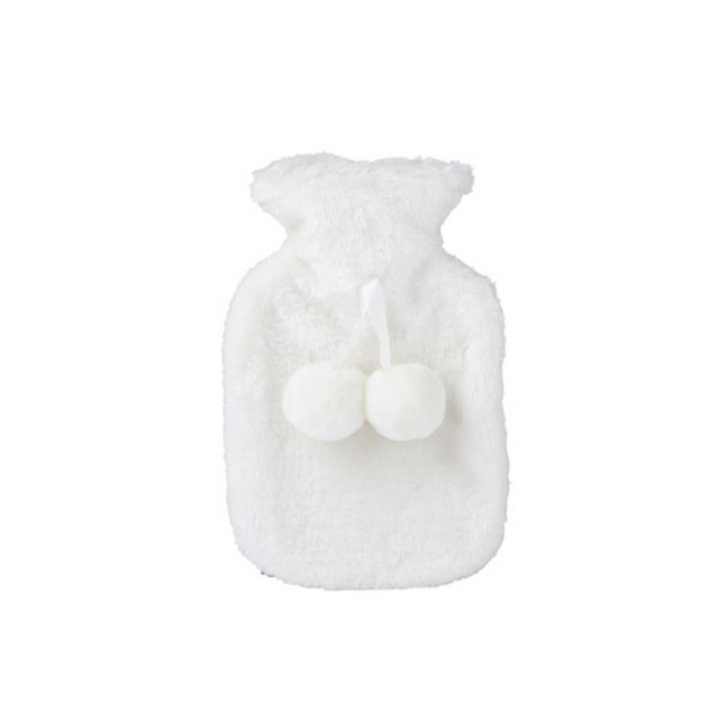 White faux fur hot water bottle
