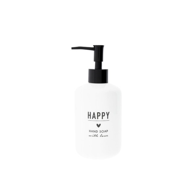 White happy hand soap dispenser