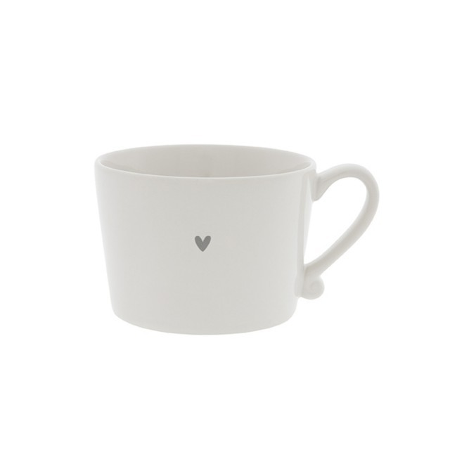 White cup with little grey heart