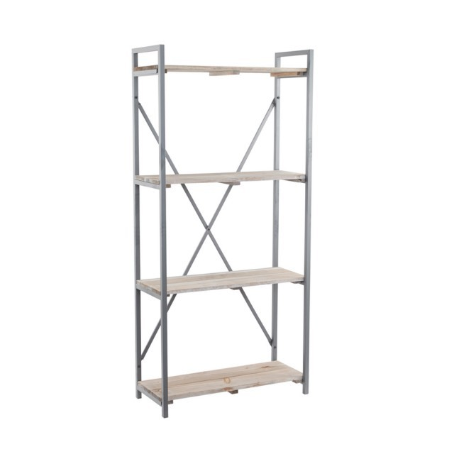 wood/metal shelving unit